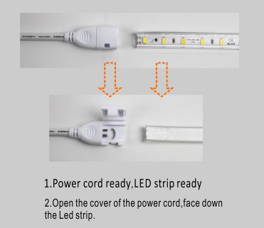 Guangdong ledde fabriken,ledde tejpen,110V AC Ingen Wire SMD 5730 Led Strip Ljus 5, install_1, KARNAR INTERNATIONAL GROUP LTD
