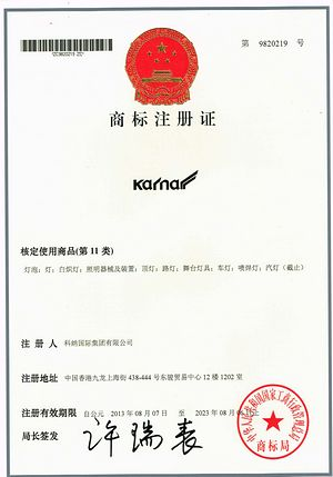Brand na patent KARNAR INTERNATIONAL GROUP LTD